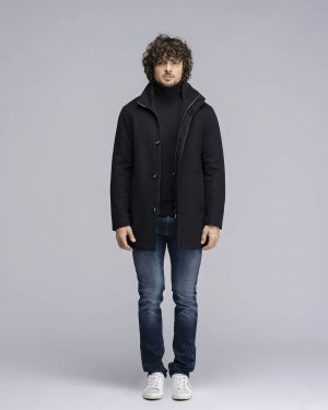 Cappotto in lana navy blu