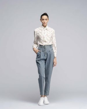 Pantalone in Denim con trapunta