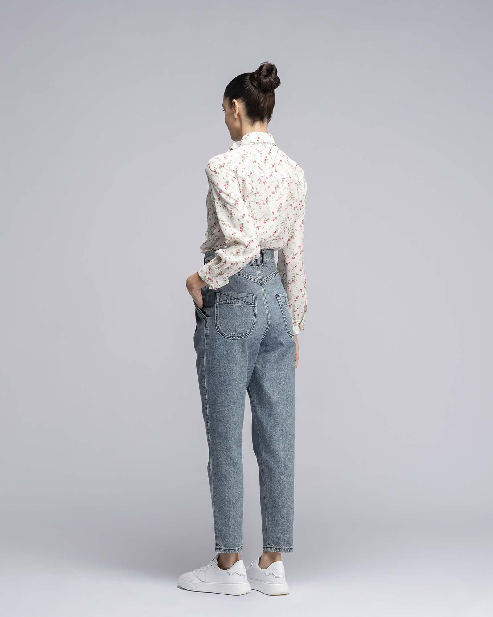 Pantalone in Denim con trapunta